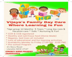 Quality home based family day care service in jordan springs llandilo