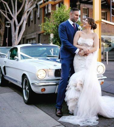Enter the Wedding Venue in Specially Modified Mustang